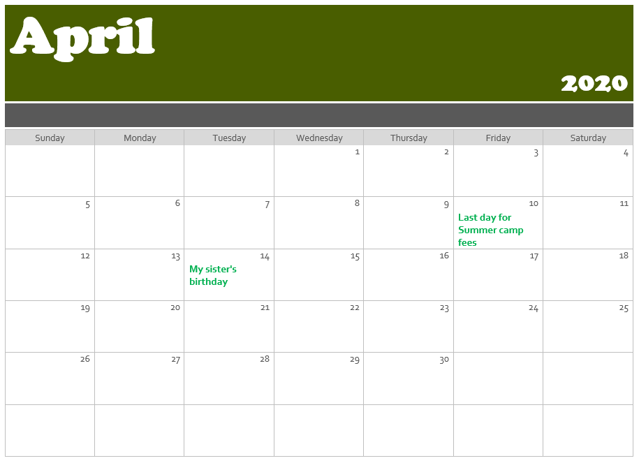 create a social calendar and stick it to your fridge