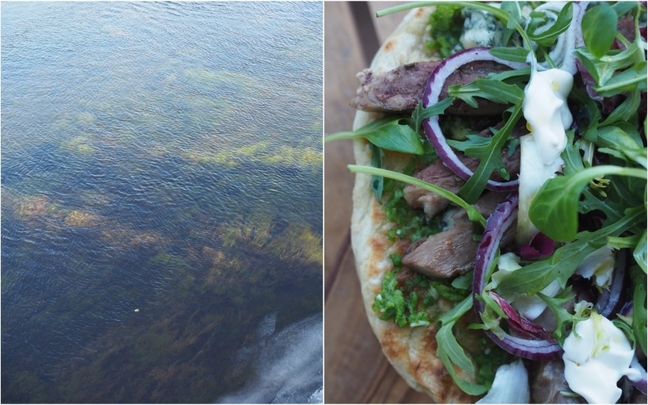 Outdoor Skillet Pizza with Lamb and Pea Pesto