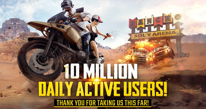 『PUBG MOBILE』の1日あたりのプレイヤー数は1,000万人以上(中国市場を含まない)と発表