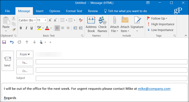 Auto Reply Outlook 1