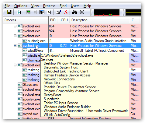 host process for windows services 7