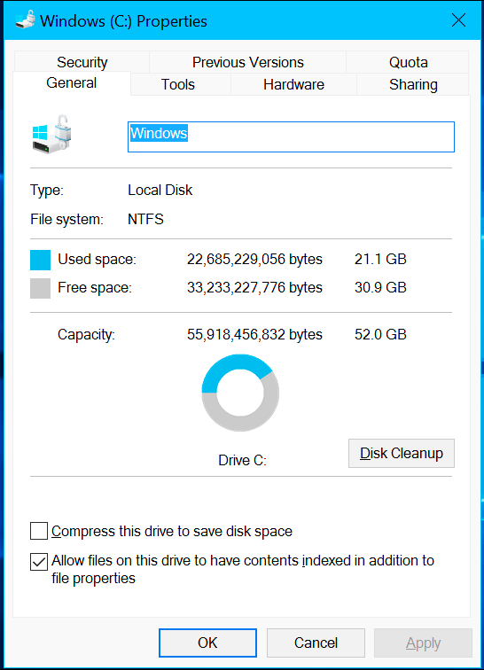 compress this drive to save disk space 2