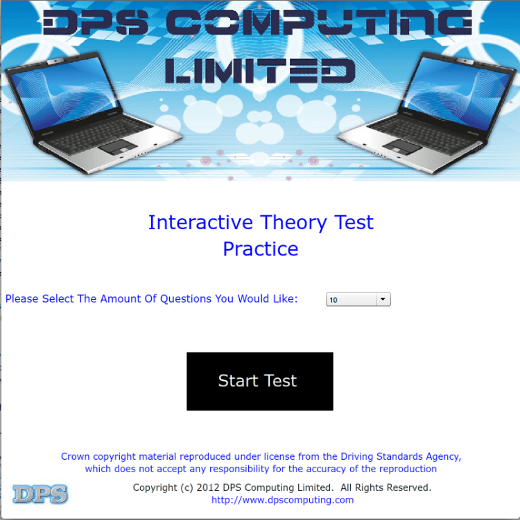 DPS Drive - Interactive Theory Test (ITT) - Home Screen / Main Menu
