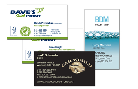 Business Cards by Dave's Quick Print Winnipeg Printer for over 20 years