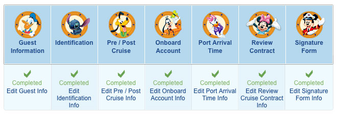 Disney cruise online check in complete