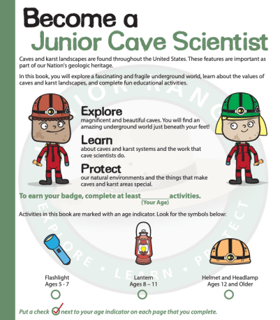 national park Junior ranger cave scientist