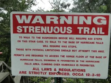 Hurricane Falls Warning Sign
