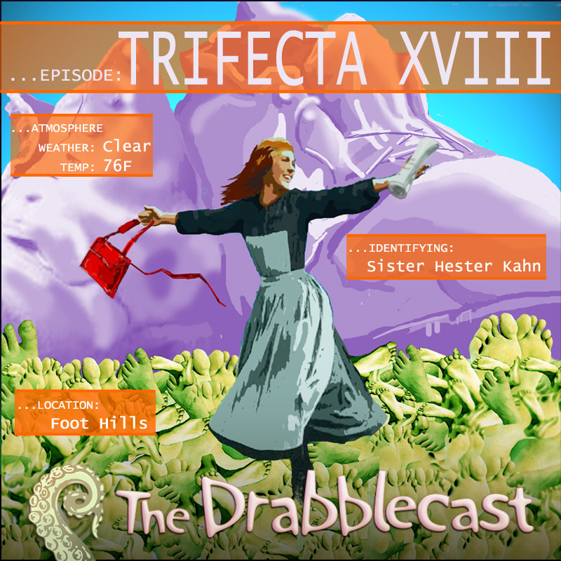 Cover for Drabblecast episode 220, Trifecta XVIII, by Liz Pennies