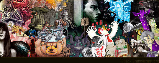 A collage of artwork from The Drabblecast's community of cover contributing artists