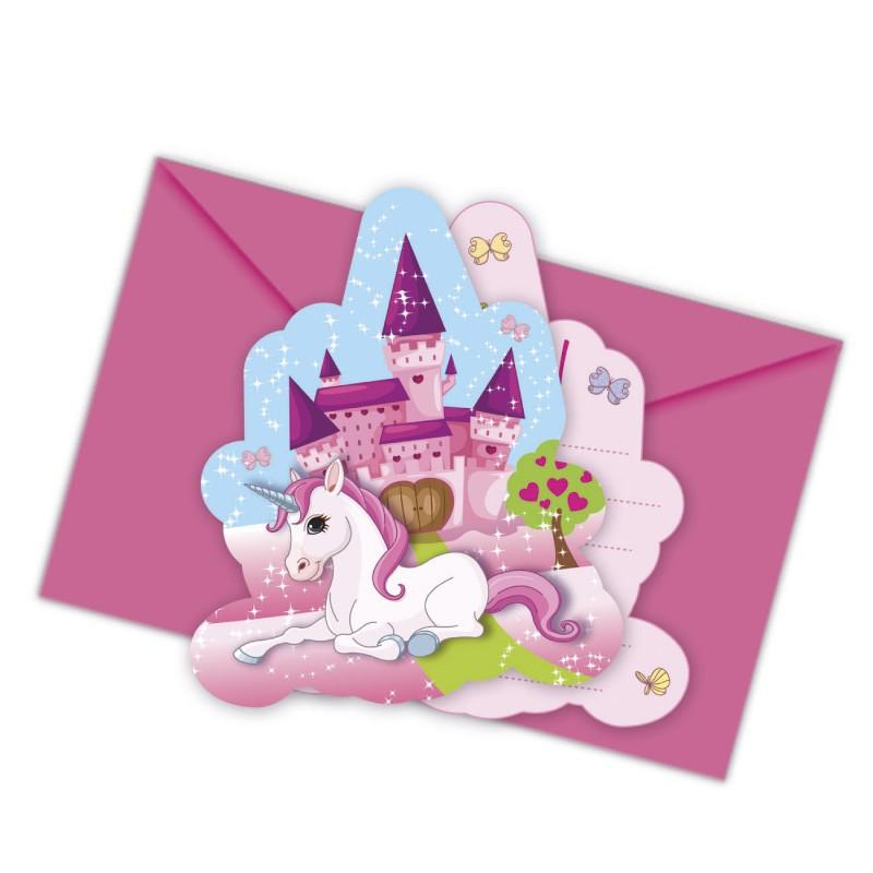 6 cartes d invitation licorne enveloppe