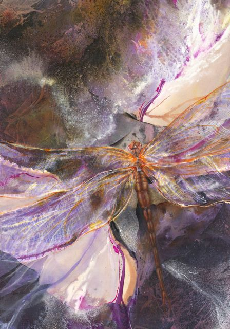 painting by Lynne Baur of large purple and orange dragonfly on abstract background