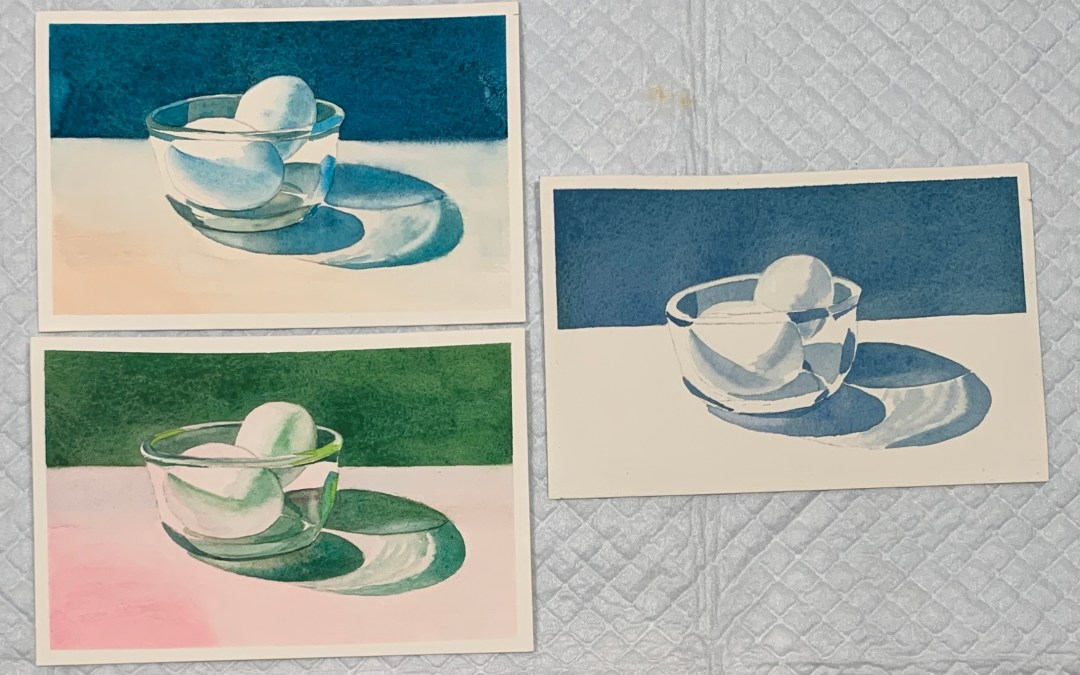 Postcard Paint-Along: Eggs in a Glass Bowl