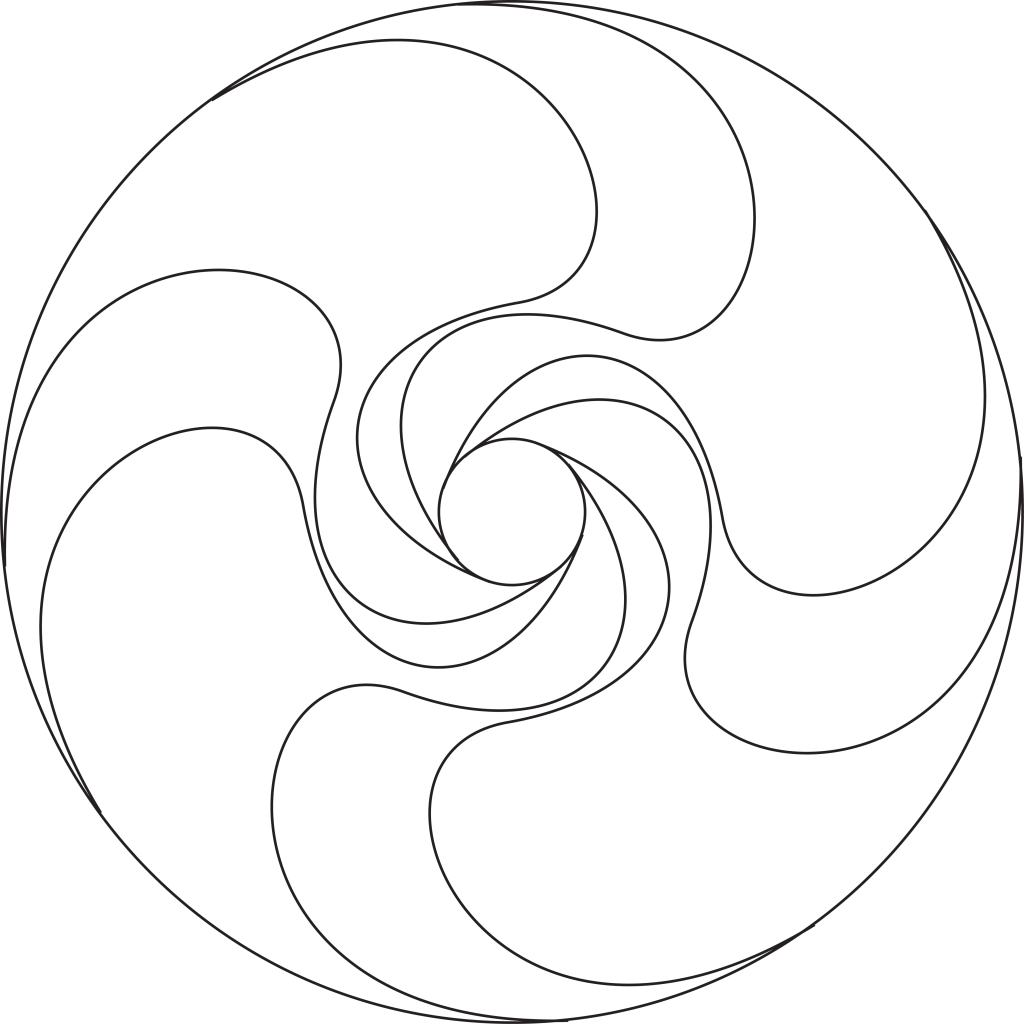 "4-fold spiral mandala (center only). This version is best for 8"" diameter and smaller."