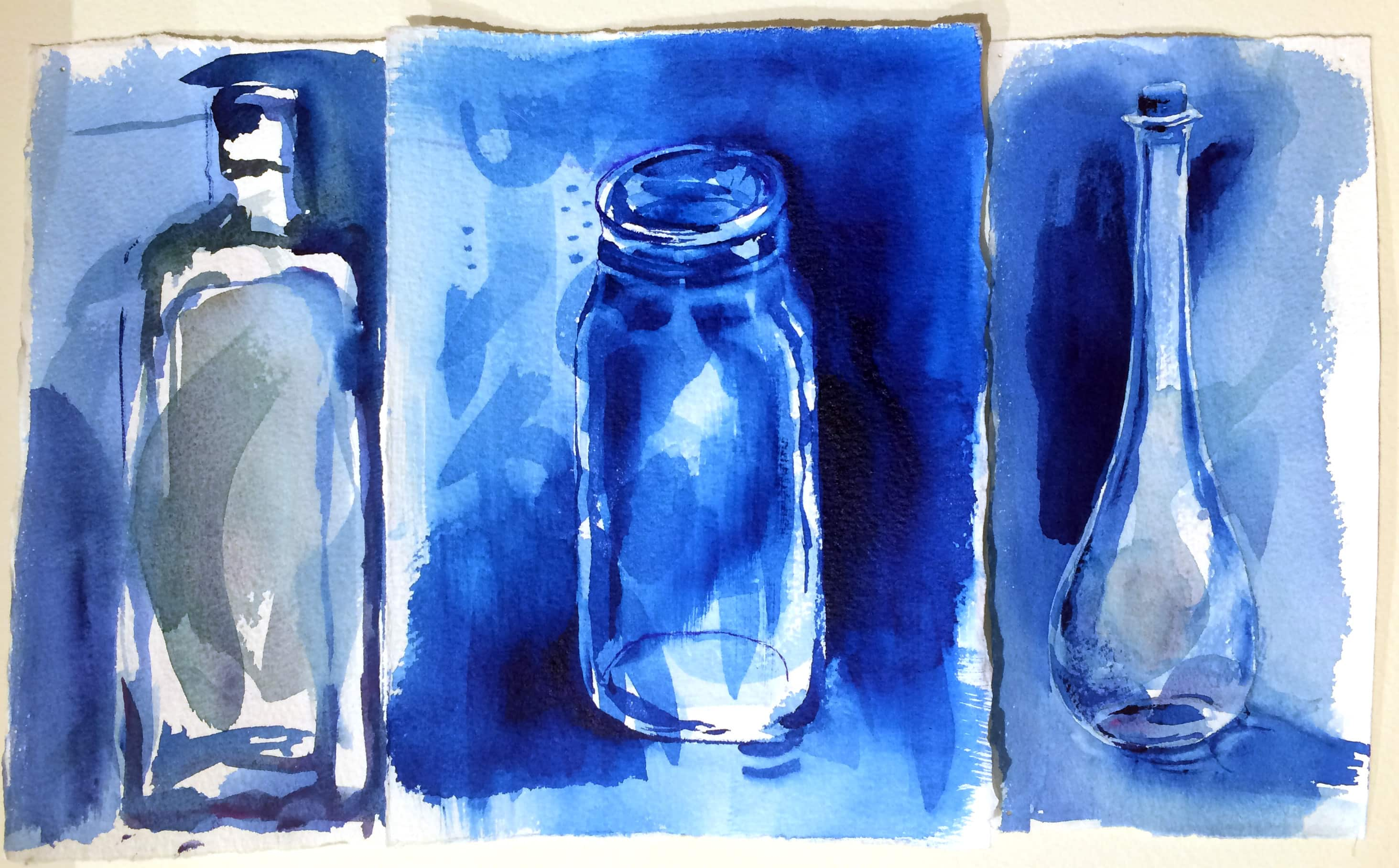"""Three loose little bottle sketches, done right on top of previous """"test scraps"""". All the stray marks already on the page help you let go of """"blank page"""" anxiety."""