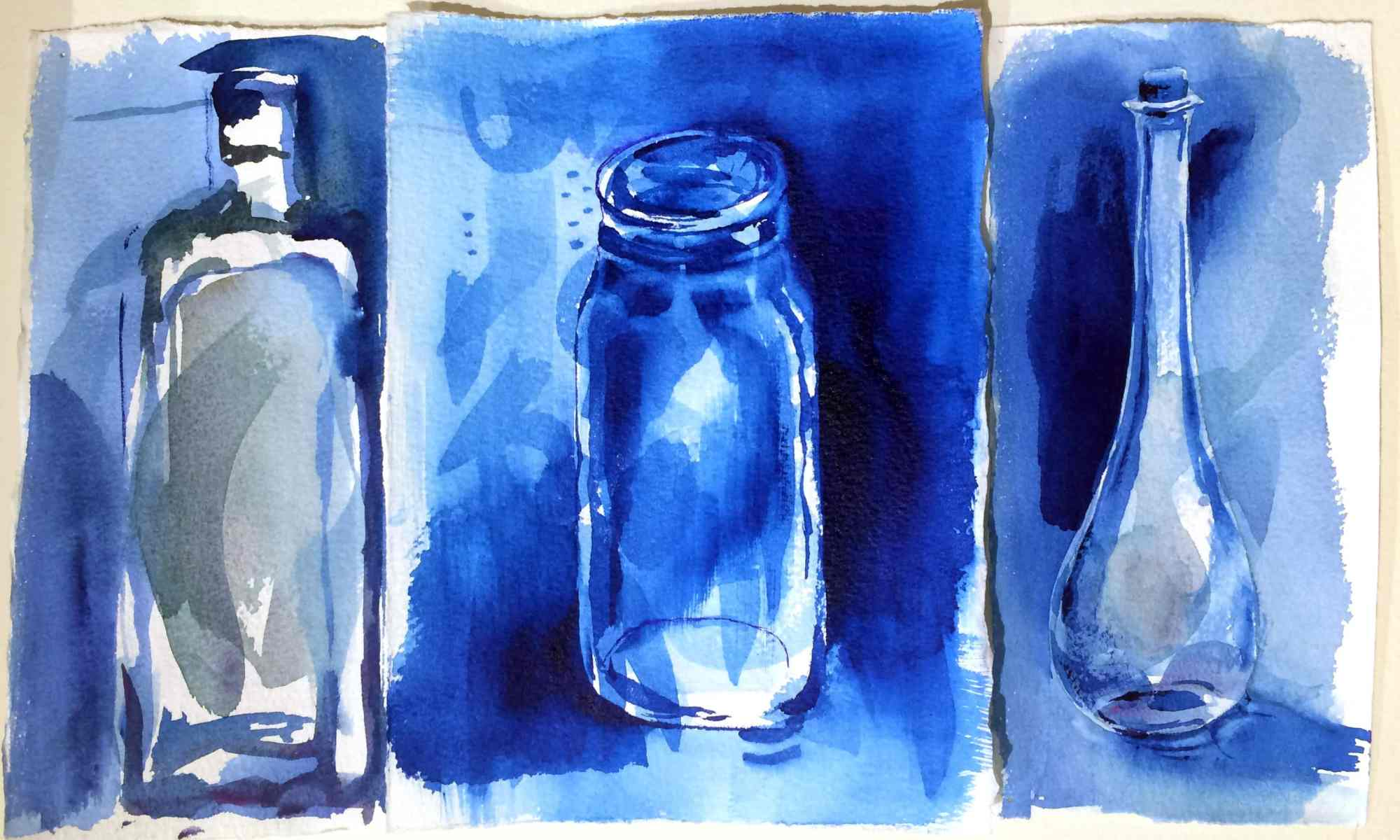 "Three loose little bottle sketches, done right on top of previous ""test scraps"". All the stray marks already on the page help you let go of ""blank page"" anxiety."