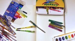 Sketchbook, crayons, kids' watercolors, gel pens, markers.