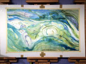 Large watercolor in progress.