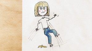 Cartoon figure slipping on a banana peel.