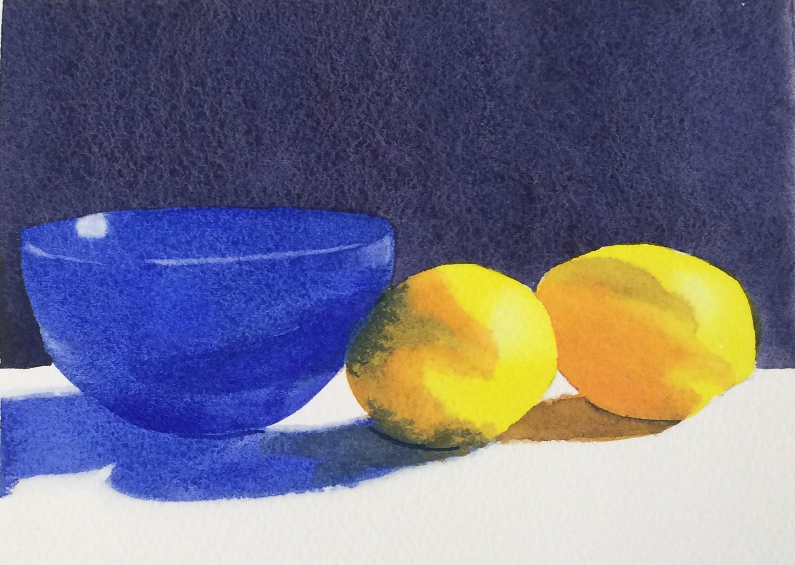 Bowl and lemons demo painting.
