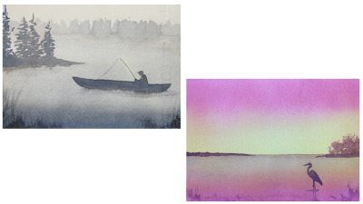 Project 4 - Dawn and Dusk at the Lake: two small paintings of a fisherman on a foggy morning and a heron in the shallows at sunset.