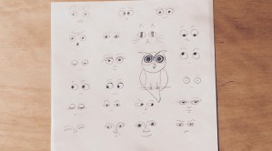 Series of cartoon faces starting with drawing the eyes.