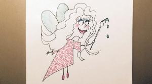 "cartoon fairy with drippy paintbrush ""wand"""