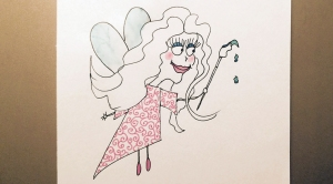 "cartoon fairy with drippy paintbrush ""wand"""