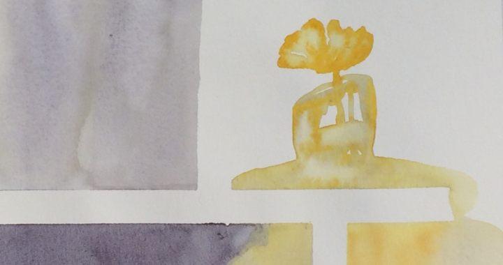 "Poppy in vase watercolor ""doodle""."