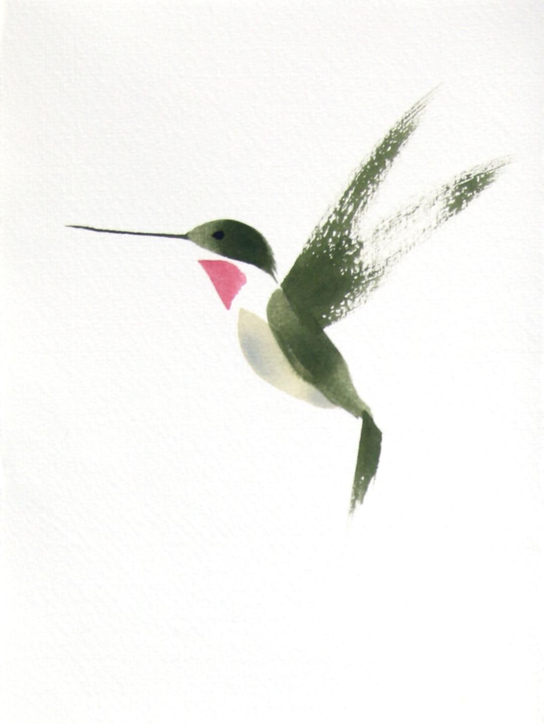 Hummingbird watercolor brush drawing