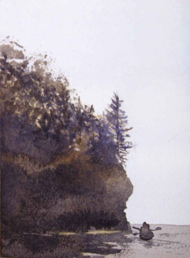 """""""silhouette"""" painting of kayakers below a cliff on Lake Superior"""