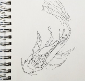A line drawing of a fish.