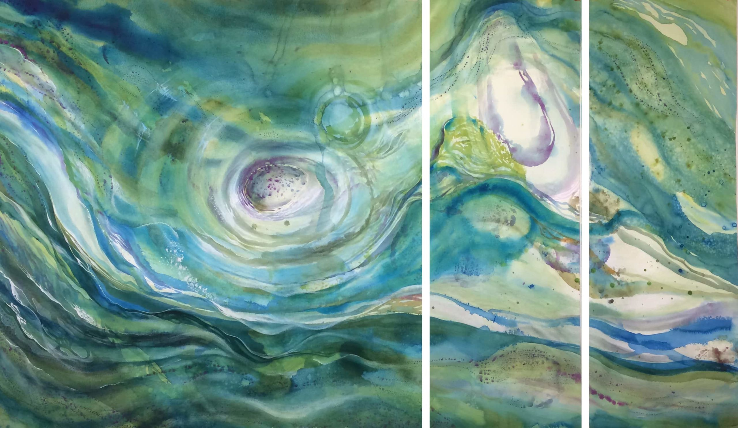 Large 3-panel painting in progress.