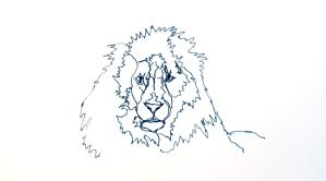 Line drawing of a lion.
