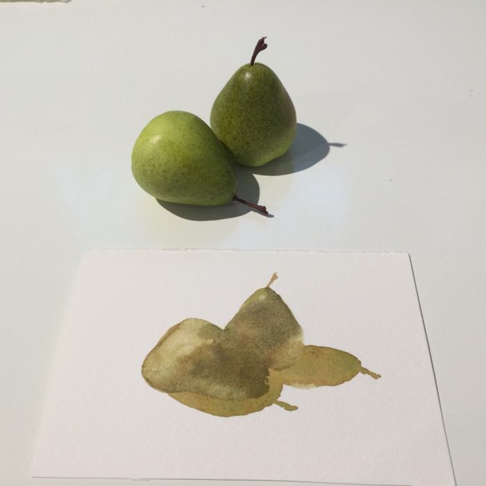 Second layer—The shadow side of both pears.