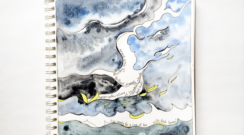 Doodle with blue and grey watercolor cloud and wave shapes, and small yellow slivers.
