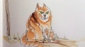 Wonky wobbly drawing of cat.