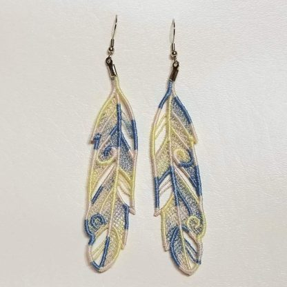 Feather Earrings in Pastels Variegated