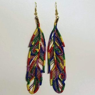 Feather Earrings in Rainbow