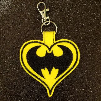 Bat Hero Heart Fob yellow felt