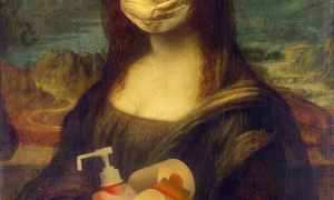 woman in brown dress holding white plastic bottle painting