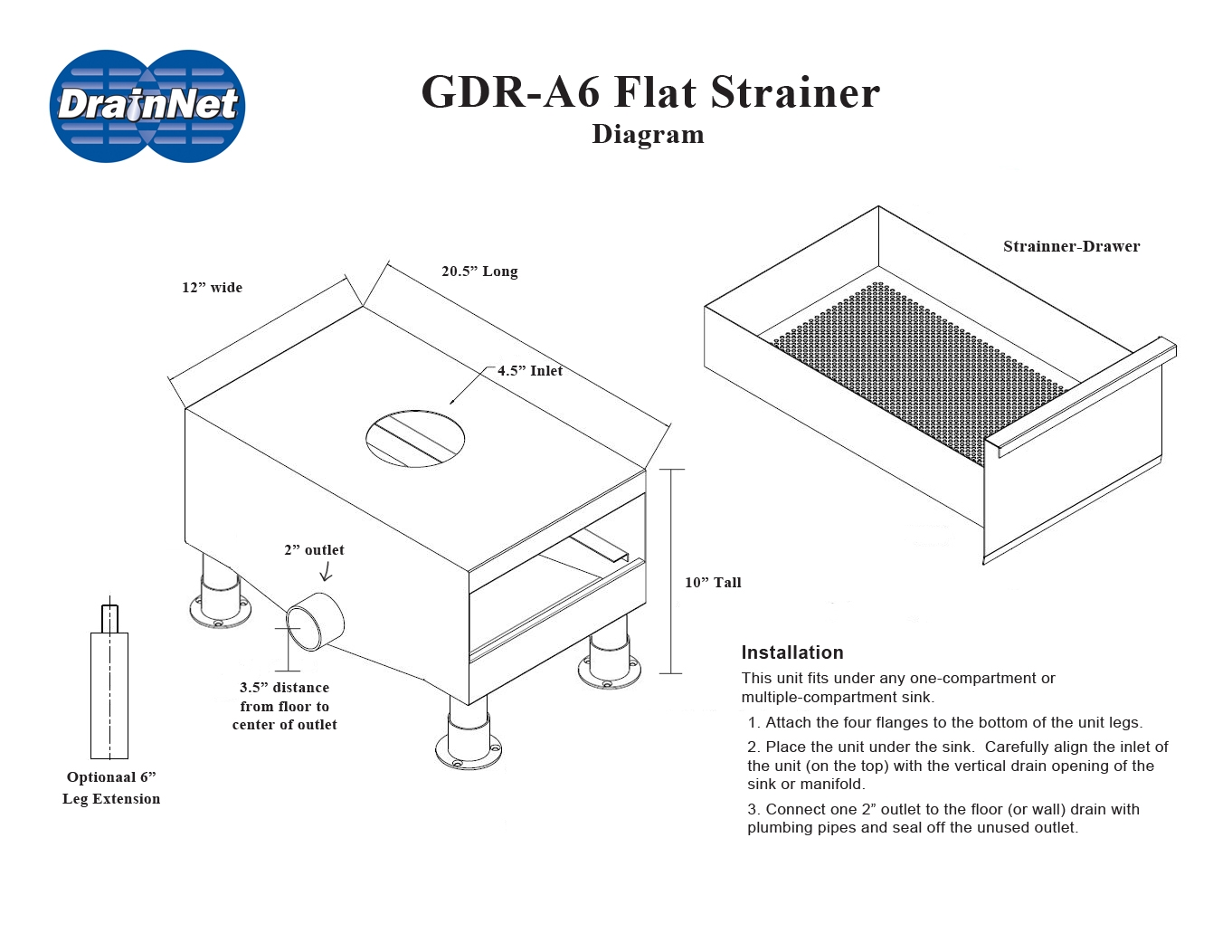 A6 Flat Strainer