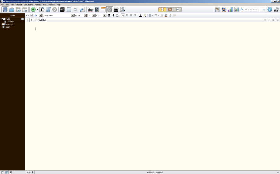 Scrivener typical new blank project