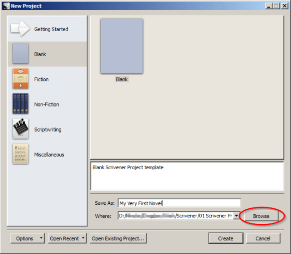 Scrivener Template Wizard - Select a location