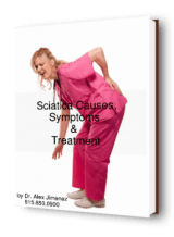 blog picture of nurse grabbing lower back with possible sciatica