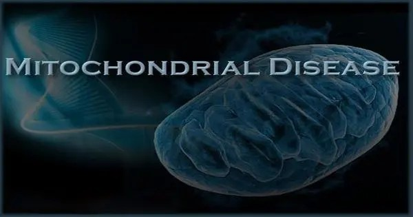 blog picture of blue cell with the word mitochondrial disease on top