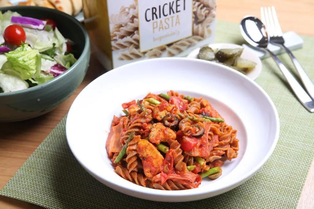 blog picture of a dish of cricket pasta