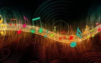 blog de imágenes de las notas musicales brillantes sobre un personal brillante