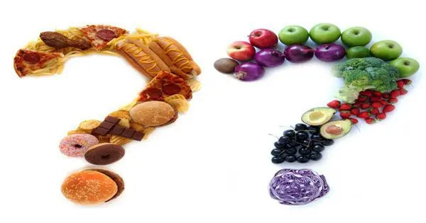 blog picture of junk food, fruits & vegetables arranged to look like question marks