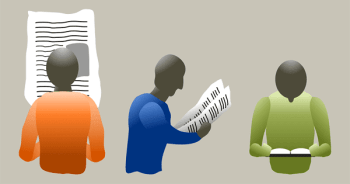 blog illustration of people reading the newspaper