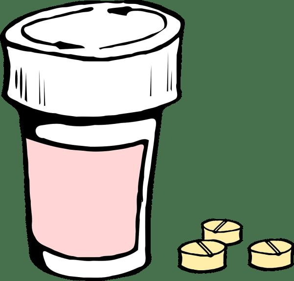 blog de ilustración de la botella de píldoras y pastillas